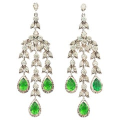 19th Century Clear and Emerald Paste Girandole Chandelier Earrings