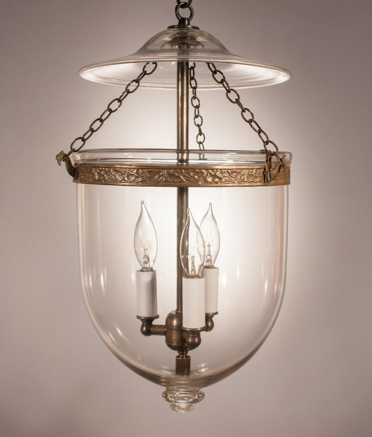 Victorian 19th Century Clear Glass Bell Jar Lantern For Sale