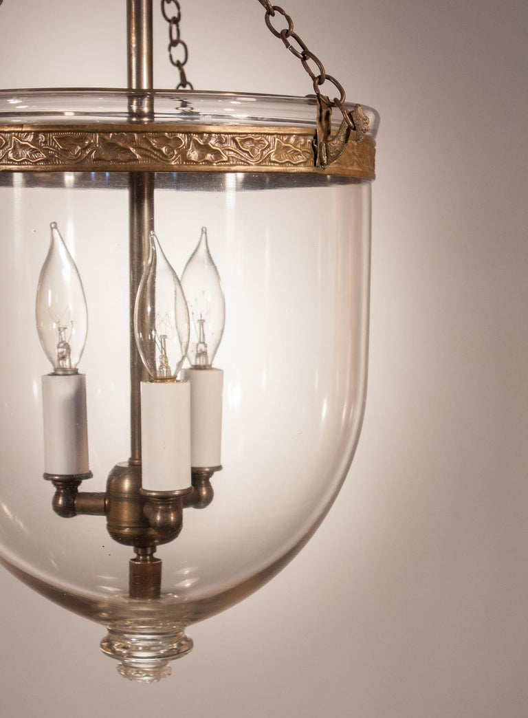 Embossed 19th Century Clear Glass Bell Jar Lantern For Sale
