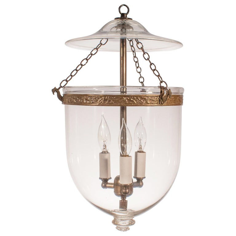 19th Century Clear Glass Bell Jar Lantern For Sale