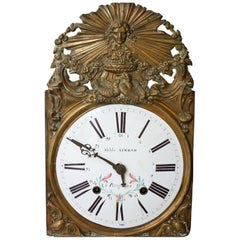 19th Century Clock Head with Enamelled Dial by Adolphe Almond in Périgueux