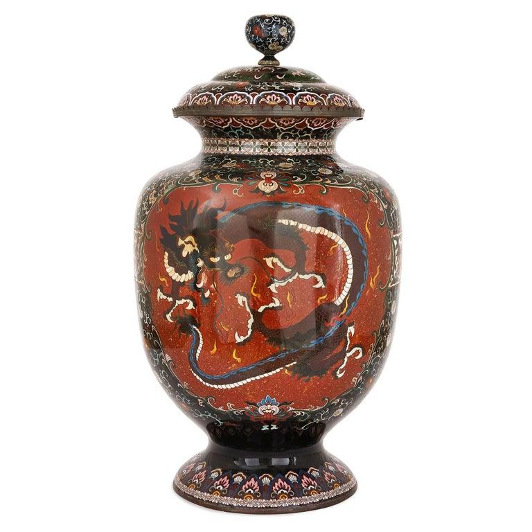 19th Century Cloisonné Enamel Dragon Vase, Meiji Period Japan