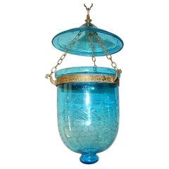 19th Century Cobalt Blue English Bell Jar Lantern Chandelier 1 of 2