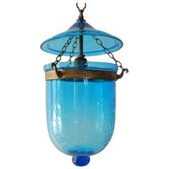 19th Century Cobalt Blue English Bell Jar Lantern Chandelier