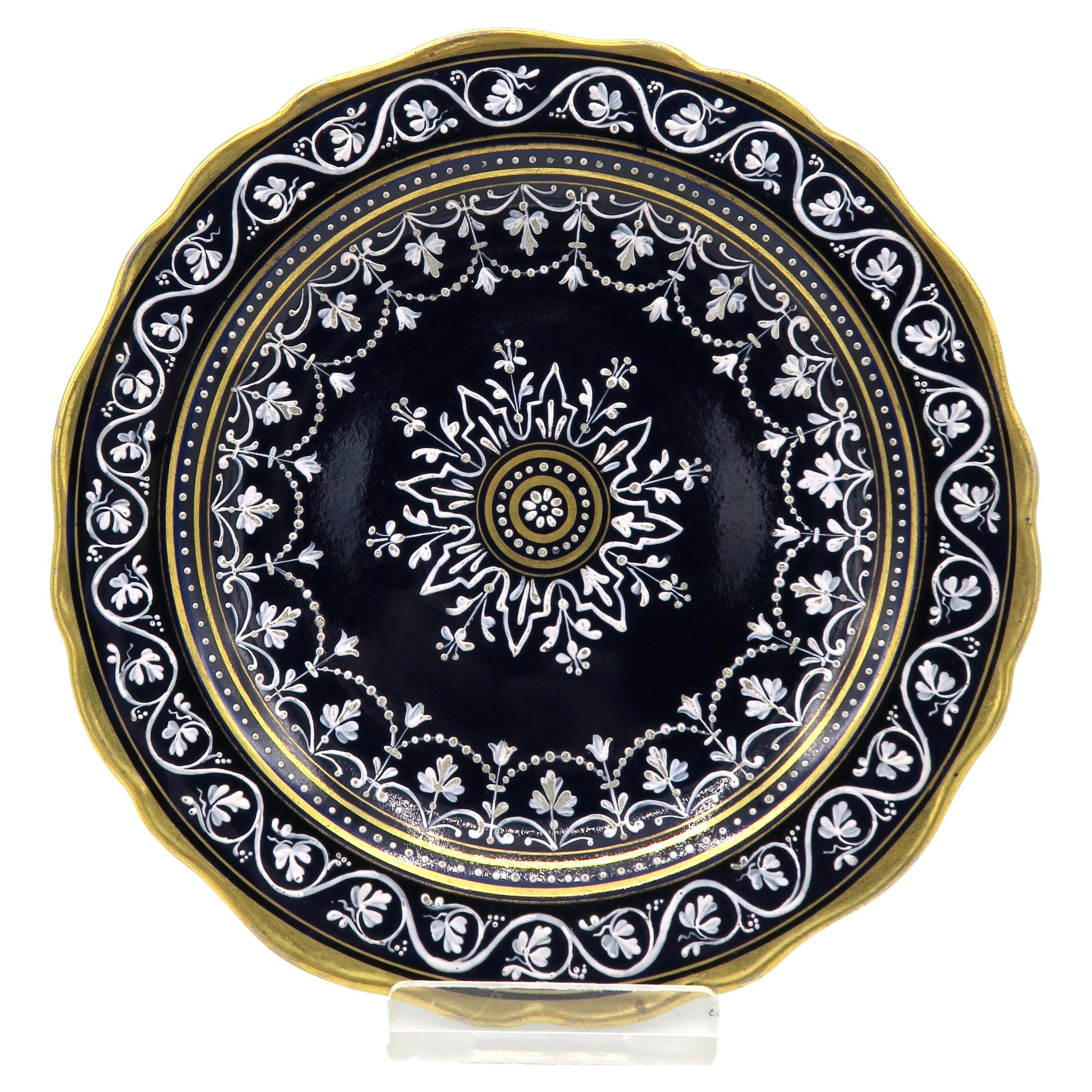 19th Century Cobalt Blue Meissen Praline Plate with Limoges Painting