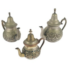 "19th Century Collection Antique Arabian Tea Pots Market ""Papillon"" Thick Brass"