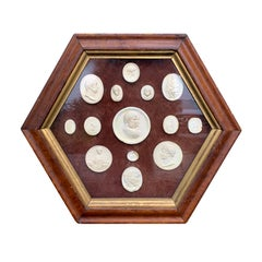 19th Century Collection of Grand Tour Intaglios in Antique Hexagonal Frame