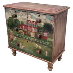 19th Century Colonial American Chest of Drawers, Paint Decorated Americana