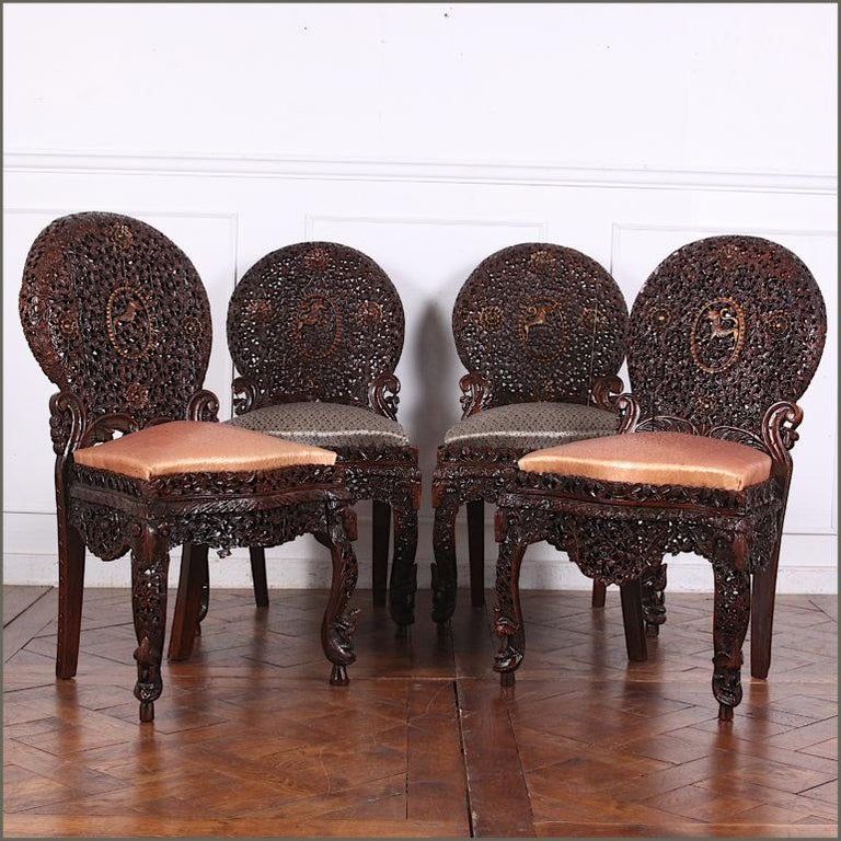 Anglo-Indian 19th Century Colonial Anglo Indian Pierce-Carved Side Chairs