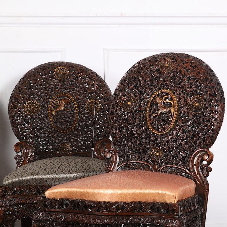 19th Century Colonial Anglo Indian Pierce-Carved Side Chairs In Fair Condition In Vancouver, British Columbia