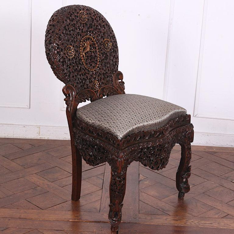 Hardwood 19th Century Colonial Anglo Indian Pierce-Carved Side Chairs