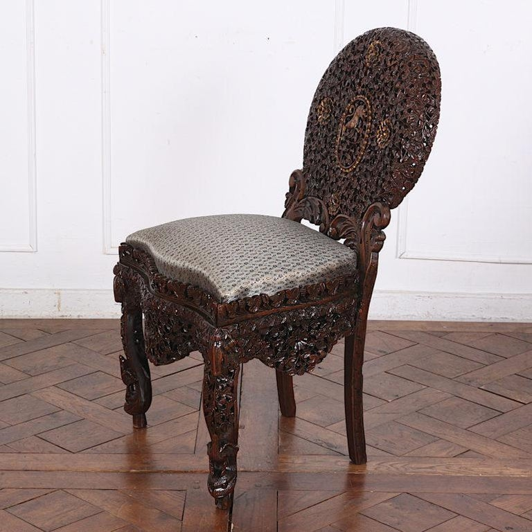 19th Century Colonial Anglo Indian Pierce-Carved Side Chairs 1