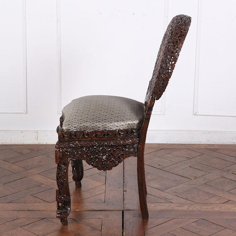 19th Century Colonial Anglo Indian Pierce-Carved Side Chairs 2