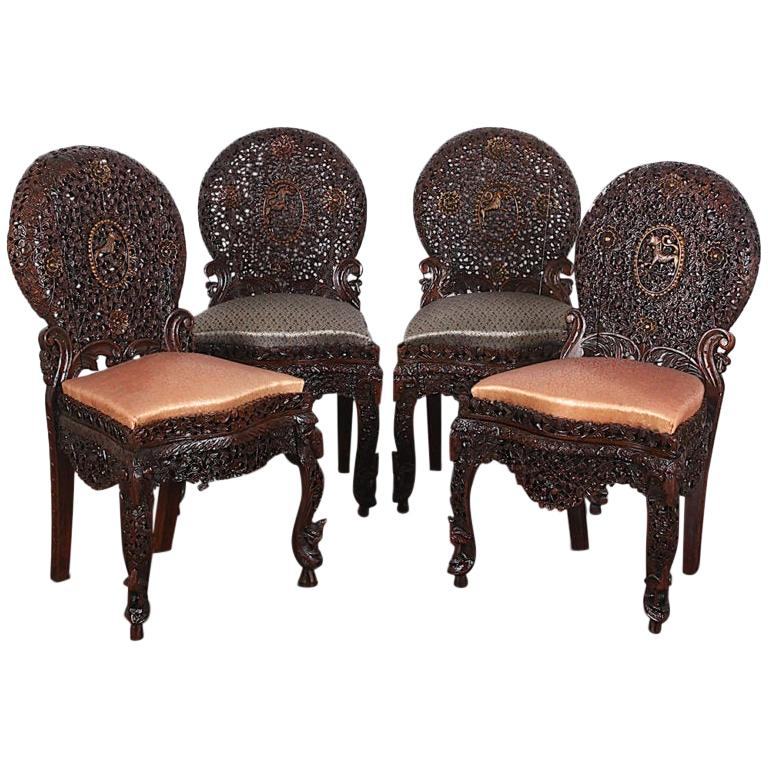 19th Century Colonial Anglo Indian Pierce-Carved Side Chairs