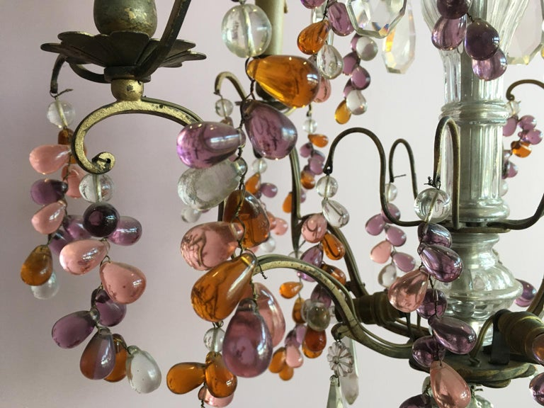 19th Century Colorful French Chandelier with Crystal Glass For Sale 4