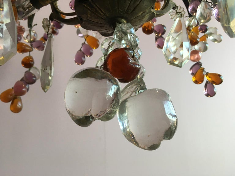 19th Century Colorful French Chandelier with Crystal Glass For Sale 5