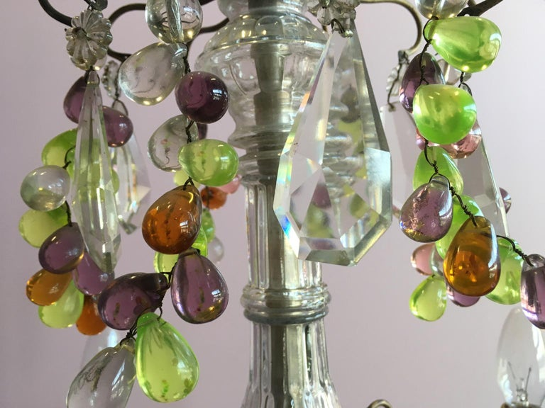 19th Century Colorful French Chandelier with Crystal Glass For Sale 6