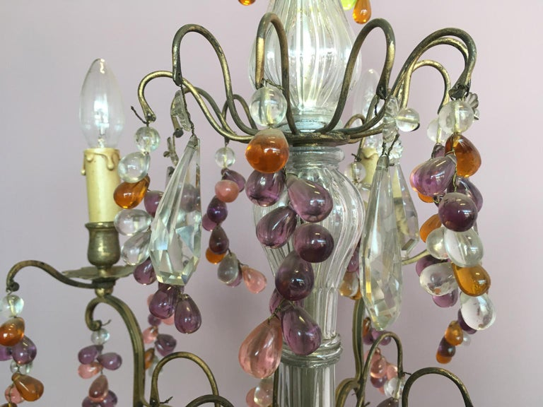19th Century Colorful French Chandelier with Crystal Glass For Sale 7