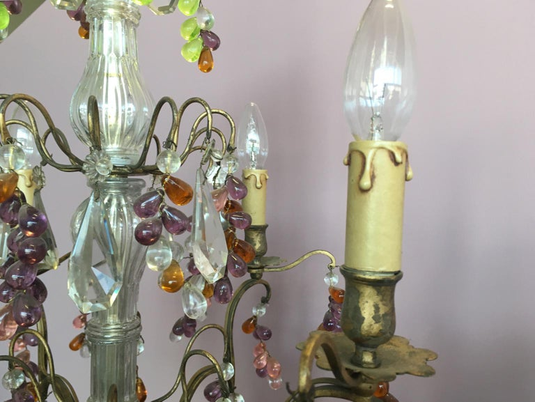 19th Century Colorful French Chandelier with Crystal Glass For Sale 8