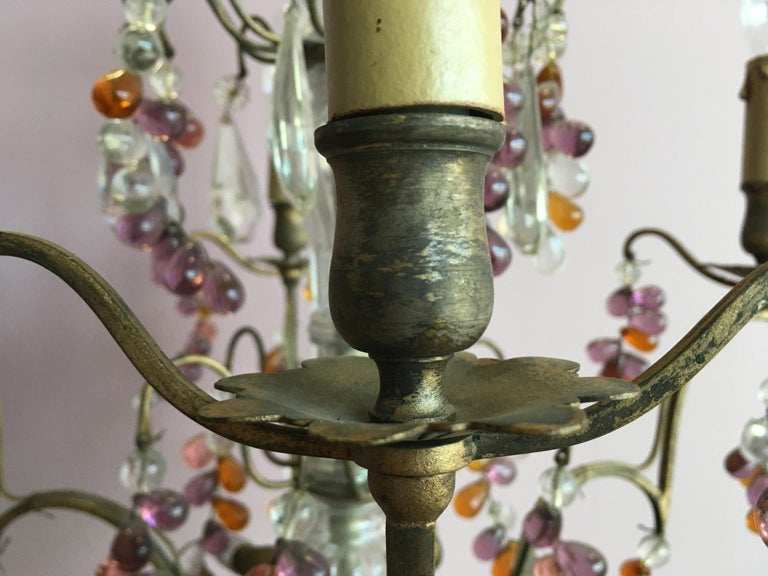 19th Century Colorful French Chandelier with Crystal Glass For Sale 9