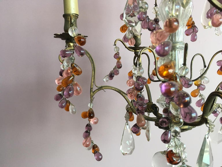 19th Century Colorful French Chandelier with Crystal Glass For Sale 10