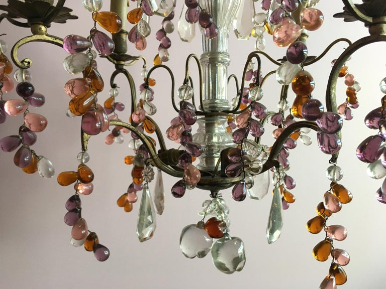 19th Century Colorful French Chandelier with Crystal Glass For Sale 11