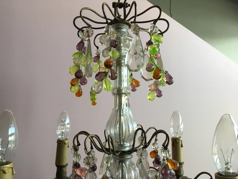 19th Century Colorful French Chandelier with Crystal Glass For Sale 12