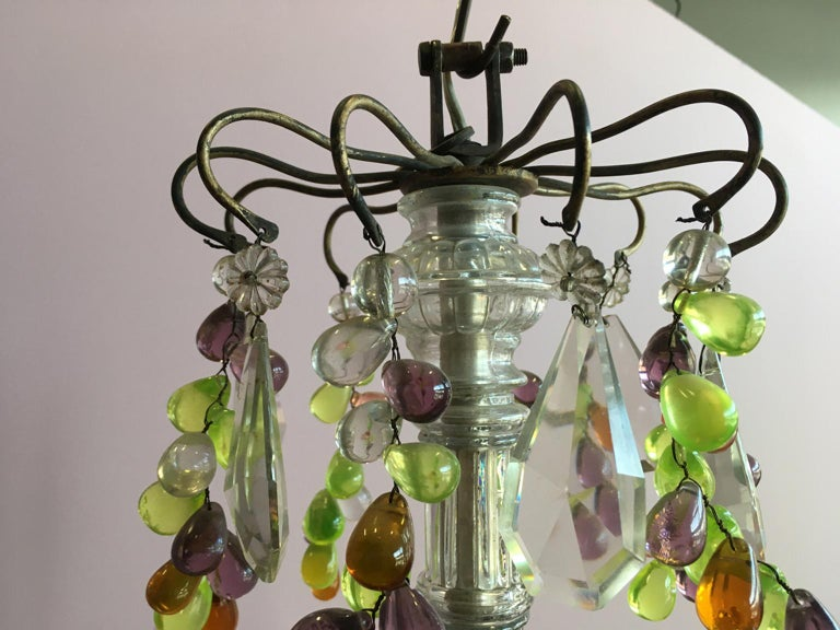 19th Century Colorful French Chandelier with Crystal Glass For Sale 13