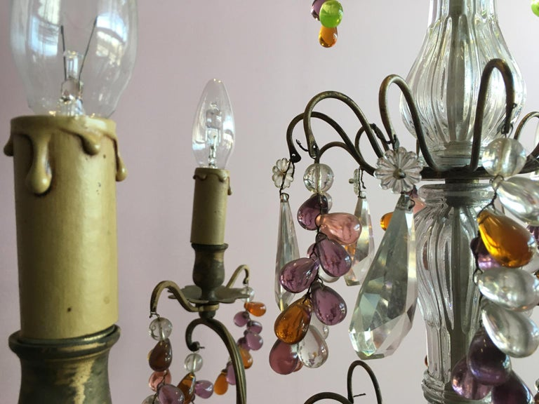 19th Century Colorful French Chandelier with Crystal Glass For Sale 14