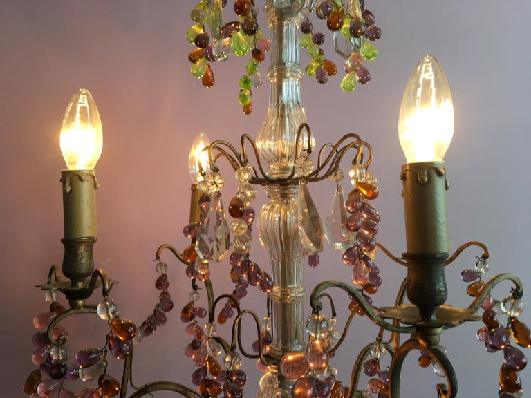 Napoleon III 19th Century Colorful French Chandelier with Crystal Glass For Sale