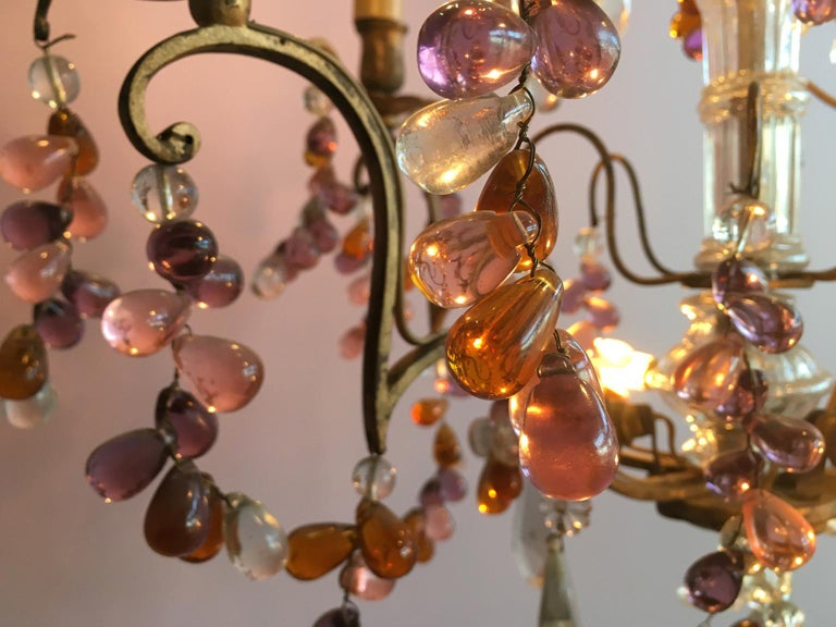 Late 19th Century 19th Century Colorful French Chandelier with Crystal Glass For Sale