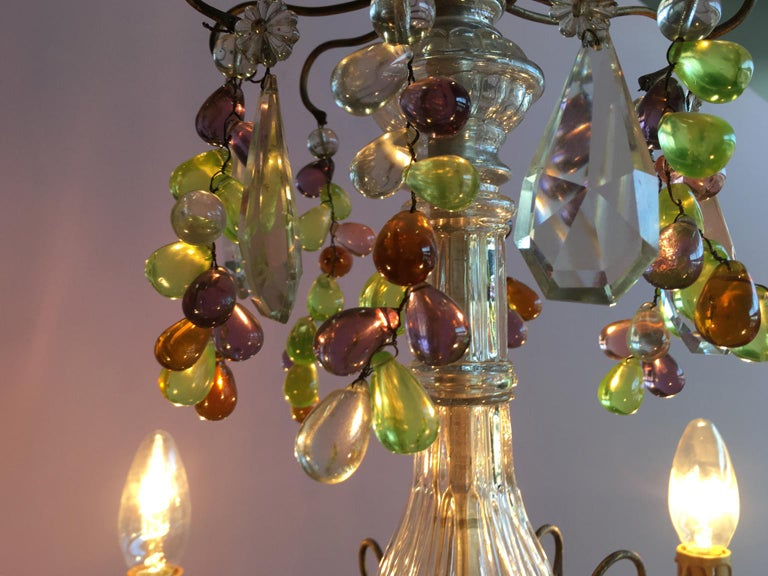 Metal 19th Century Colorful French Chandelier with Crystal Glass For Sale
