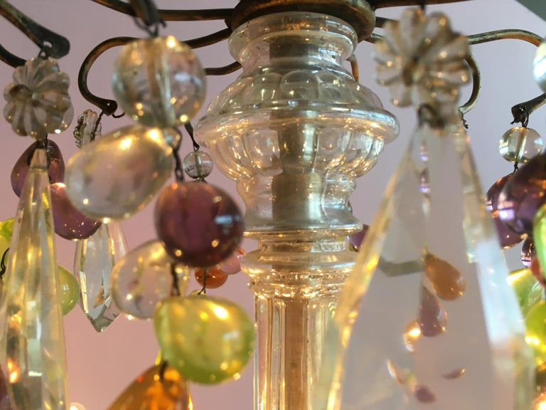 19th Century Colorful French Chandelier with Crystal Glass For Sale 2