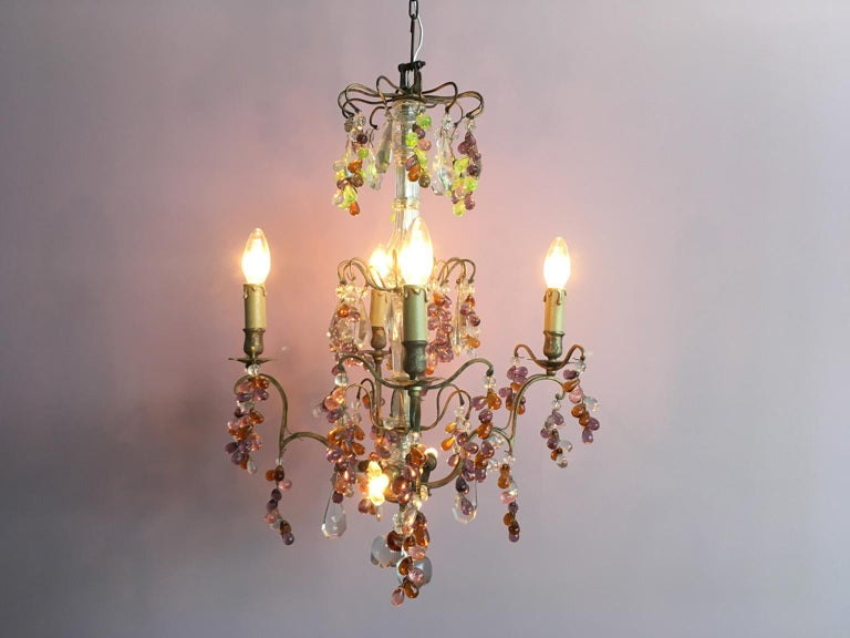 19th Century Colorful French Chandelier with Crystal Glass For Sale 3