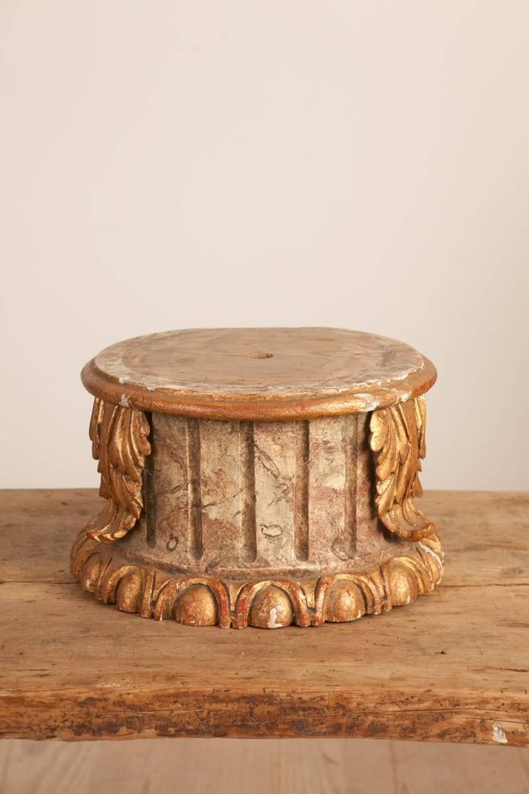 19th century column or pedestal, gilt wood fluted column painted with beautiful faux-marble painting decorated with oversized acanthus leaves, circa 1880.  Great for tabletop, ideal for object display.