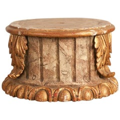 19th Century Column Pedestal Gilt Wood and Faux-Marble Painting, circa 1880