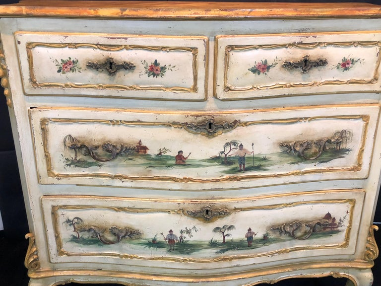 19th Century Commode Venetian Lacquered with Landscapes and Chinese Figures 2