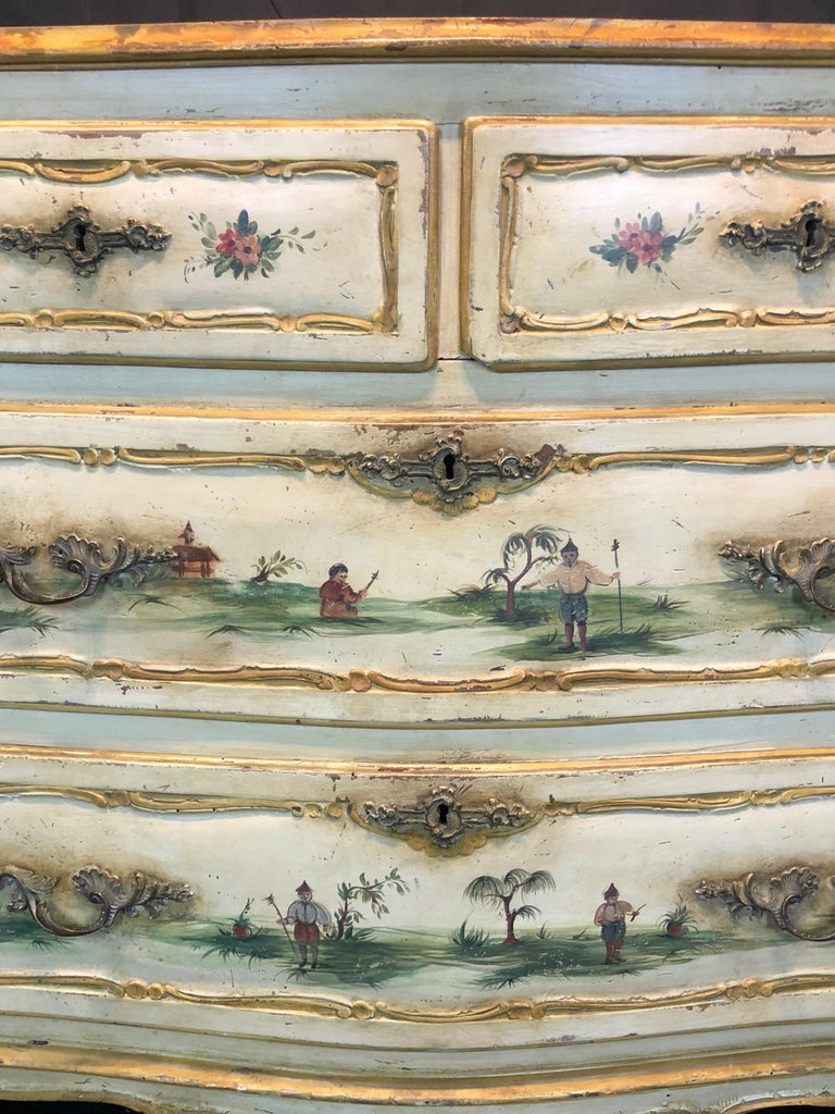 19th Century Commode Venetian Lacquered with Landscapes and Chinese Figures 3