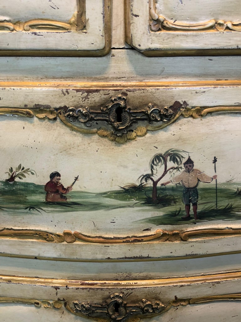 19th Century Commode Venetian Lacquered with Landscapes and Chinese Figures 4