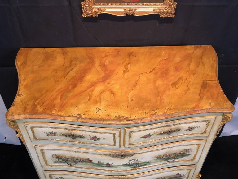 19th Century Commode Venetian Lacquered with Landscapes and Chinese Figures 6