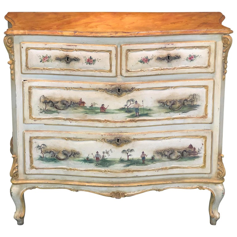 19th Century Commode Venetian Lacquered with Landscapes and Chinese Figures 1