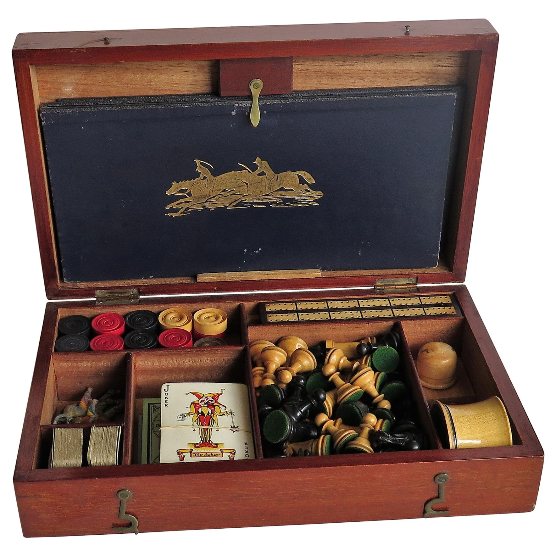 19th Century Complete Games Compendium in Hardwood Jointed Box Many Games