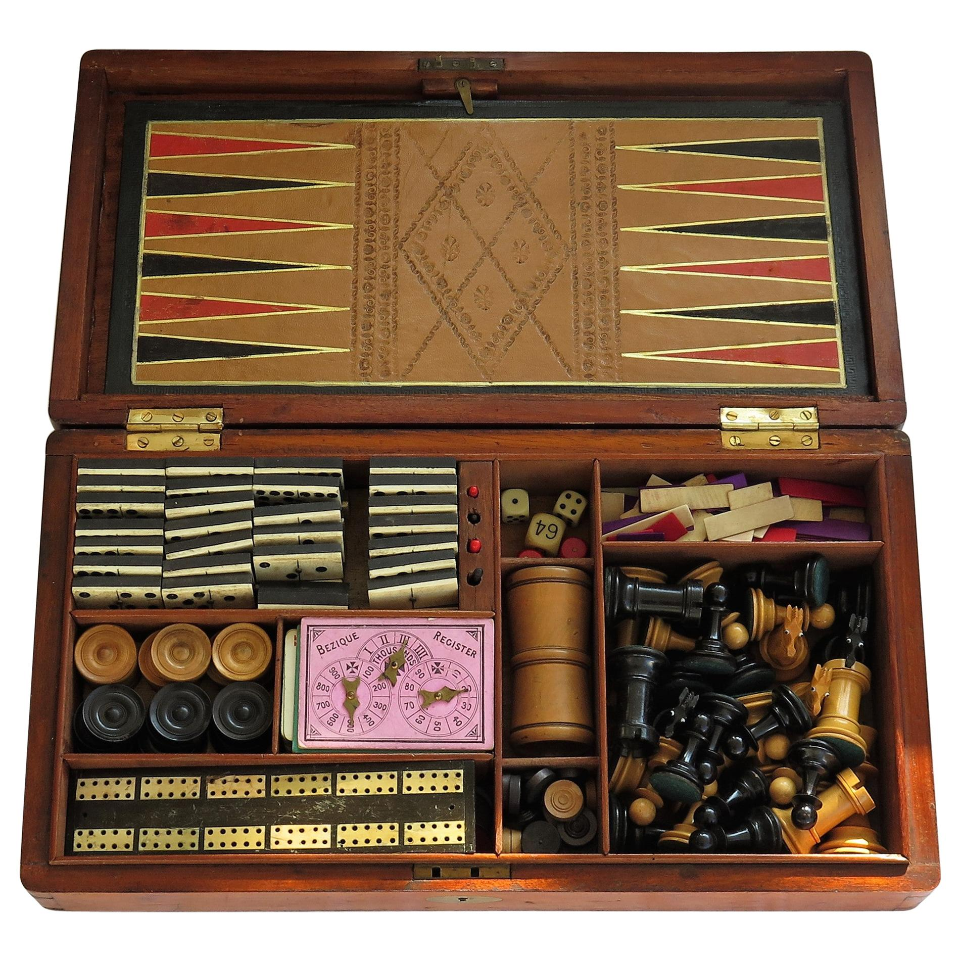 19th Century Large Games Compendium in Hardwood Jointed Box with Many Games
