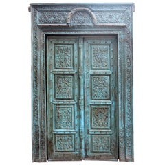 19th Century Complete Indian Wooden Main Door with Original Polychrome