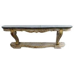 19th Century Console Table, Green Marble Top and Wood