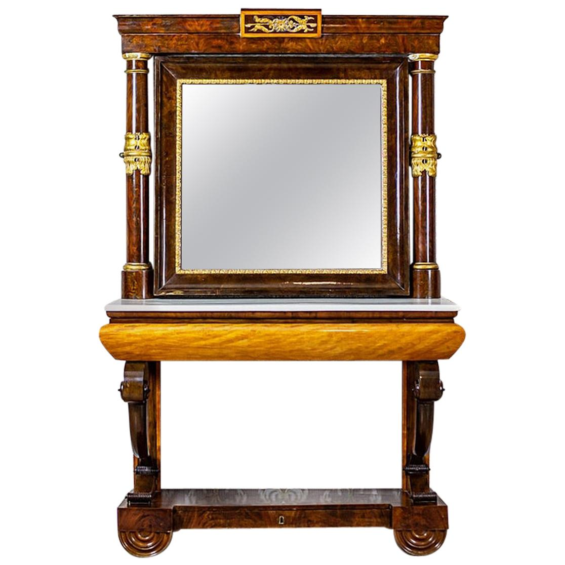 19th Century Console Table with Hinged Mirror