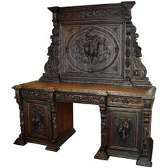 19th Century Continental Back Bar with Carved Hanging Game Birds