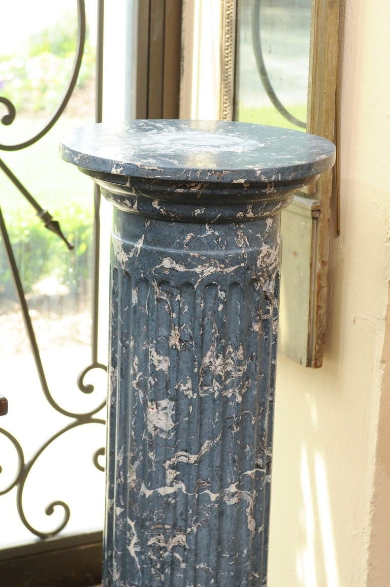 19th Century Continental Blue Marbleized Painted Terracotta Column/Pedestal For Sale 5