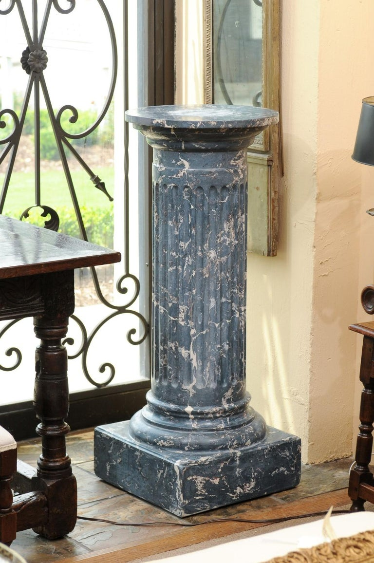 Neoclassical 19th Century Continental Blue Marbleized Painted Terracotta Column/Pedestal For Sale