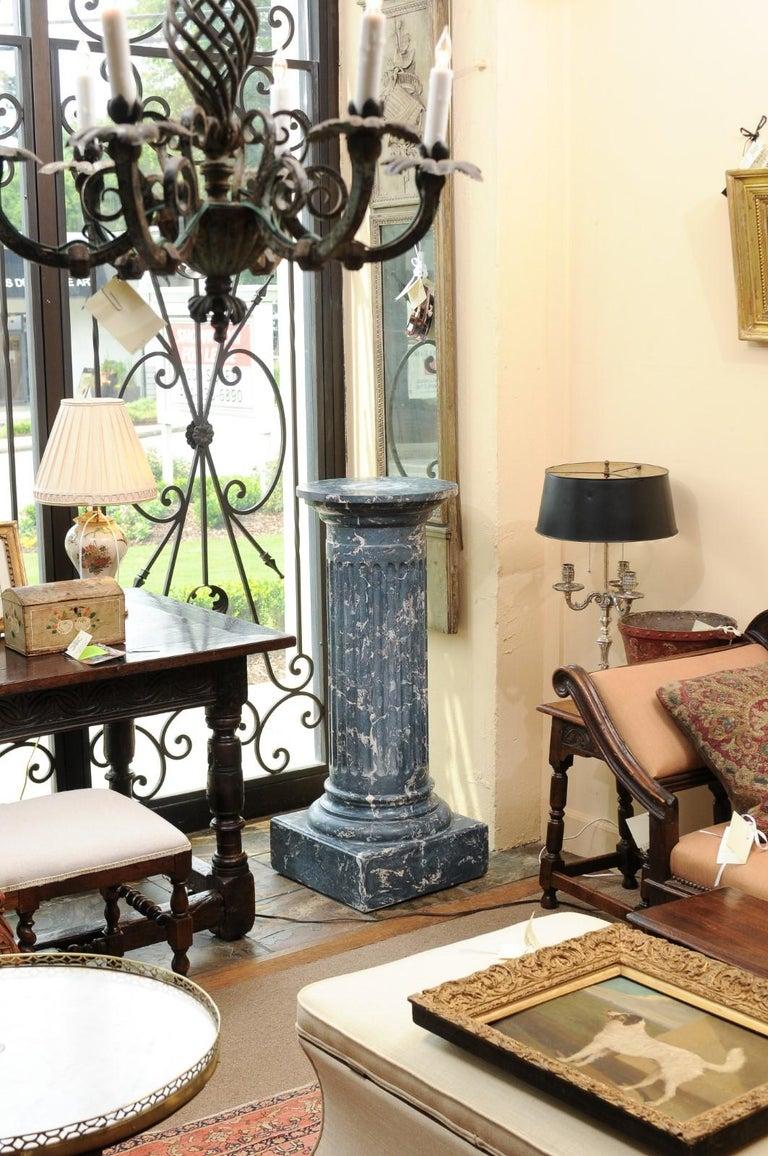 European 19th Century Continental Blue Marbleized Painted Terracotta Column/Pedestal For Sale